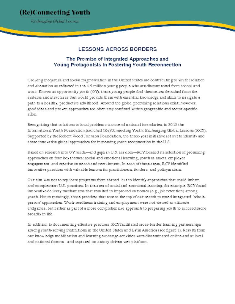 Lessons Across Borders: The Promise of Integrated Approaches