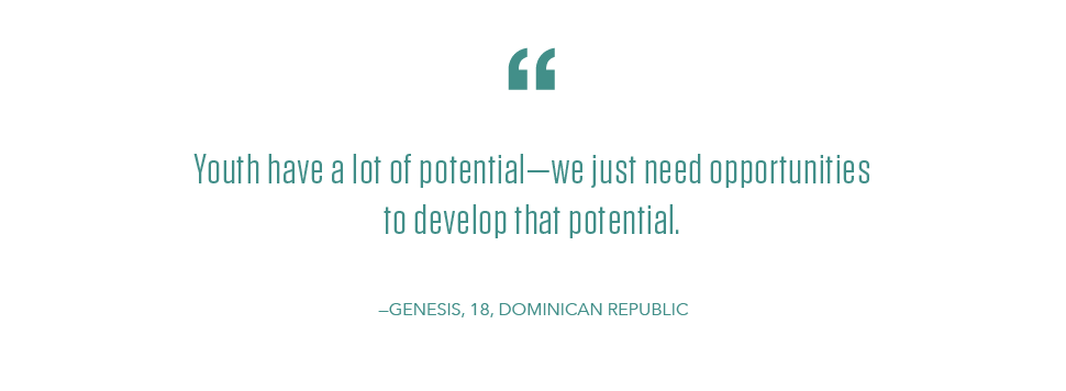 Youth Day quote from Genesis, a NEO participant from the Dominican Republic