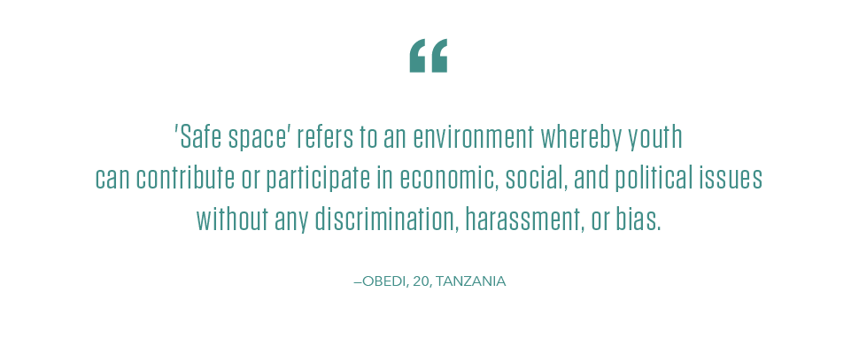 Quote from a young man in Tanzania about safe spaces